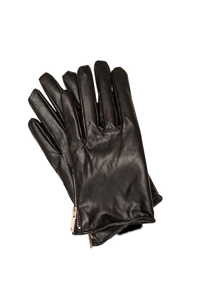 skórzane, czarne rękawiczki